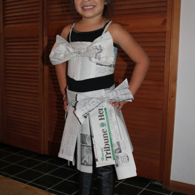 Recycled Materials Dress Up Day: Newspaper Skirt & Top