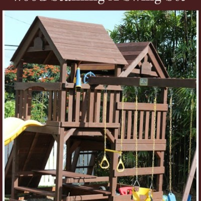 DIY- Wood Staining a Kids Swing Set