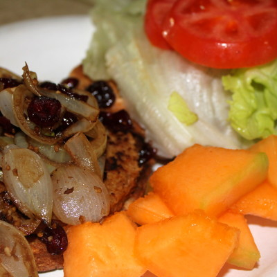 Getting Healthy – Boca Burger Topped with Balsamic Carmelized Onions & Cranberries