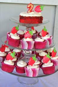 red velvet cupcake tower