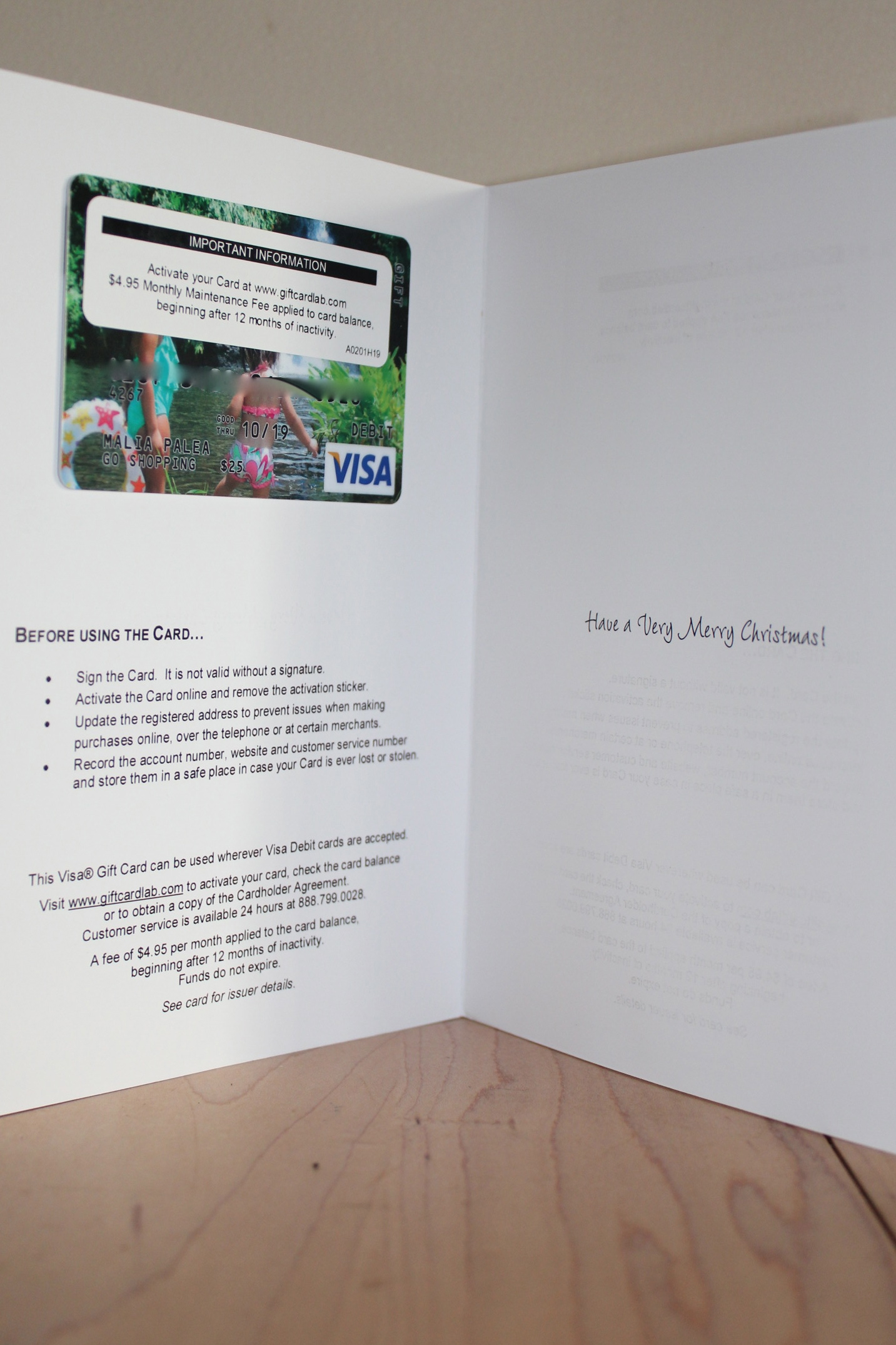 GiftCard com Personalized VISA Gift Card *2012 Holiday Gift