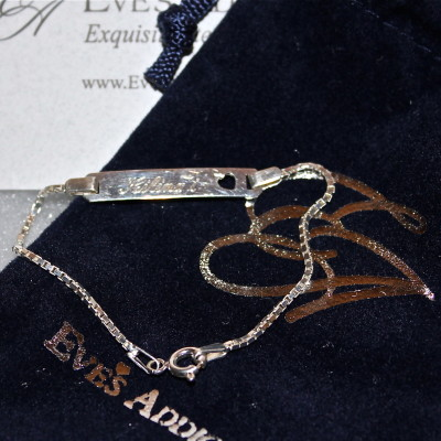 Sterling Silver Box Link Children's ID Bracelet from Eve's Addiction *2012 Holiday Gift Guide*