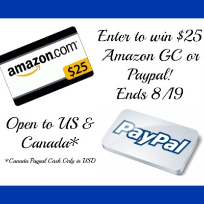 $25 Amazon or Paypal Flash Giveaway – ends 08/19