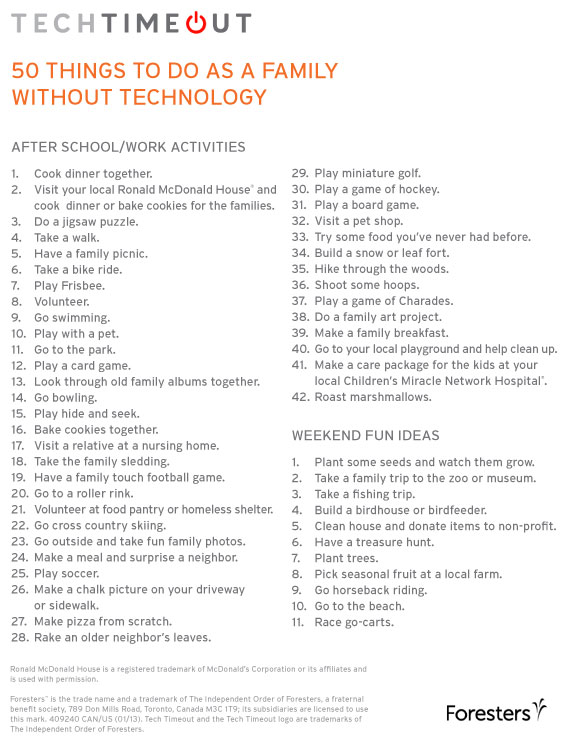 50 Things To Do as a family