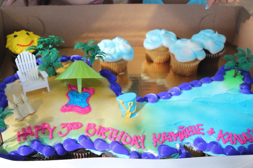beach scene cupcake birthday cake