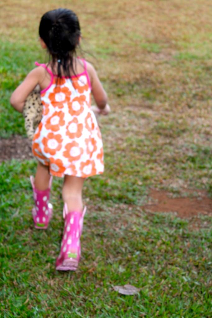 running in rain boots