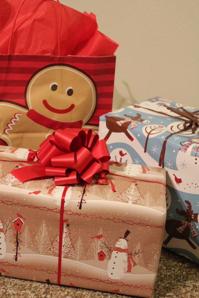christmas gift wrap red, brown, blue