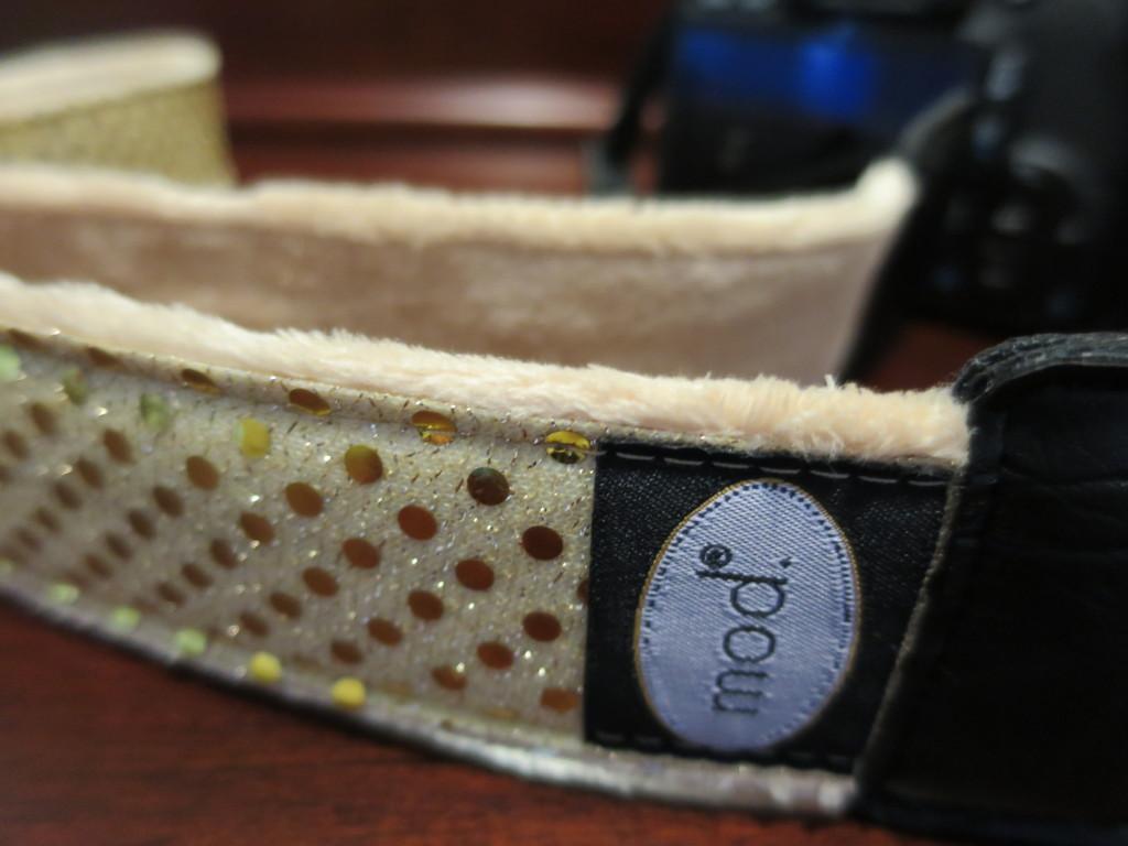 sequin camera strap gold