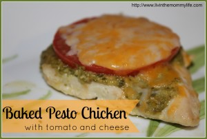 baked pesto chicken with tomato and cheese