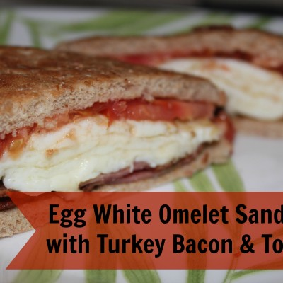 Egg White Omelet Sandwich with Turkey Bacon and Tomato