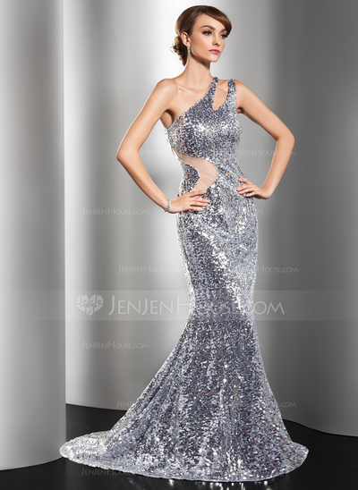 silver glitter mermaid one shoulder prom dress