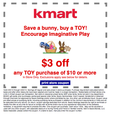 $3 off $10 Toy Purchase at Kmart!