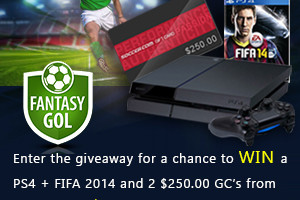 Win a Playstation 4 + FIFA '14 game bundle, or one of two $250.00 Soccer.com Gift Cards (3 WINNERS)!