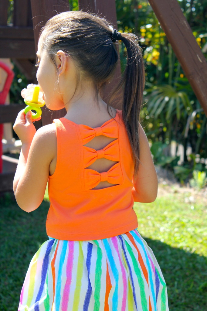 FabKids Orange Cropped Bow Back Top