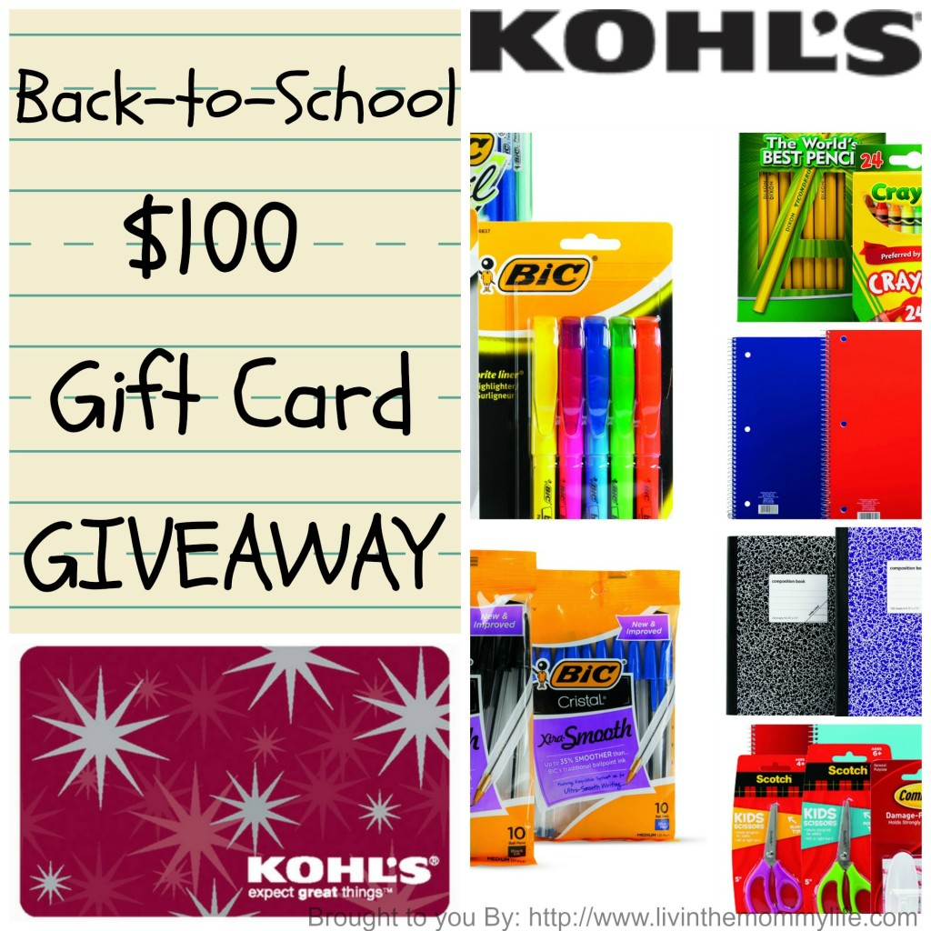 kohl's back-to-school gift card giveaway