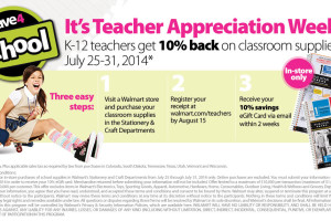 K-12 Teachers get 10% back on purchase of School Supplies at Walmart! – July 25 – 31, 2014