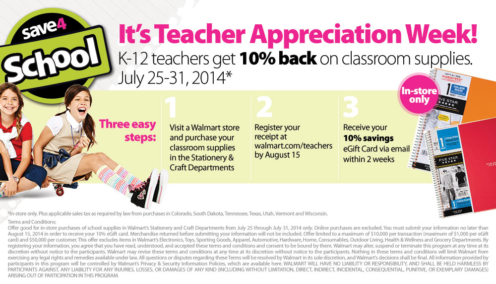 teachers savings walmart