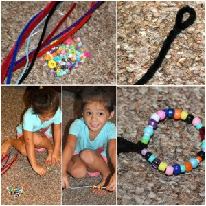 making a bead and button bracelet