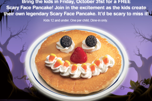 FREE Scary Face Pancake at IHOP on Halloween