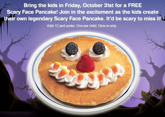 free scary face pancake at IHOP