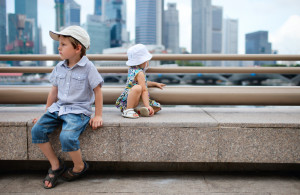 Two kids at city