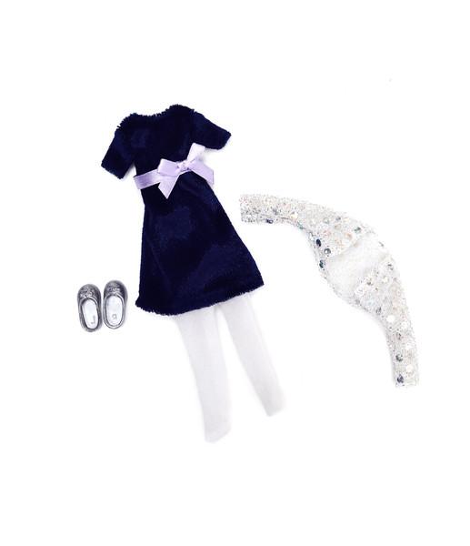 Blue Velvet Dress Lottie Doll Outfit