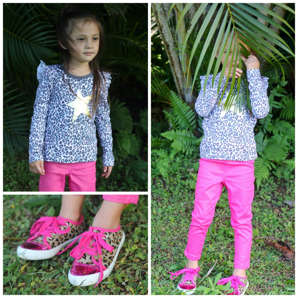 FabKids Cheetah Long Sleeve Pants Outfit