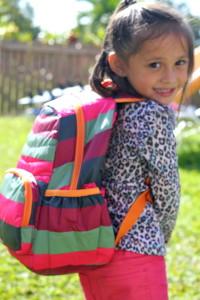 kids backpack pink orange stripes