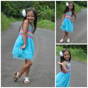FabKids Summer Stripes Tulle Dress