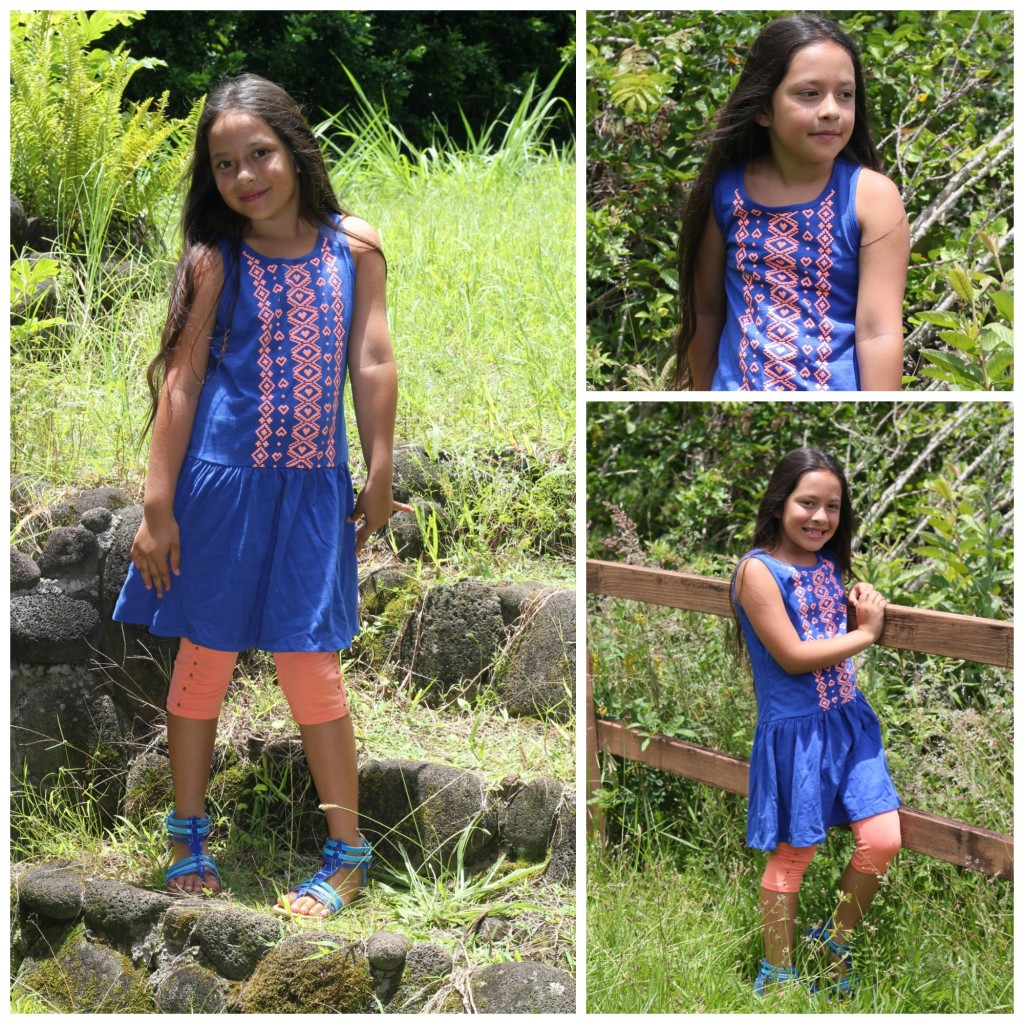 blue tribal fabkids girls summer dress