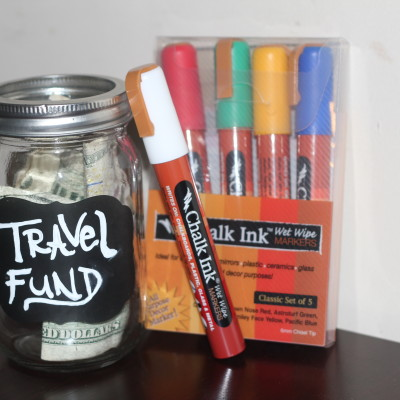 DIY Travel Fund Jar with Chalk Ink Markers