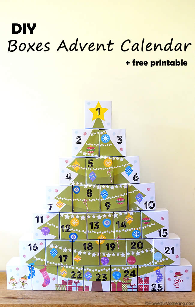 20 diy christmas advent calendar ideas livin the mommy life diy boxes advent calendar with free printable solutioingenieria Gallery