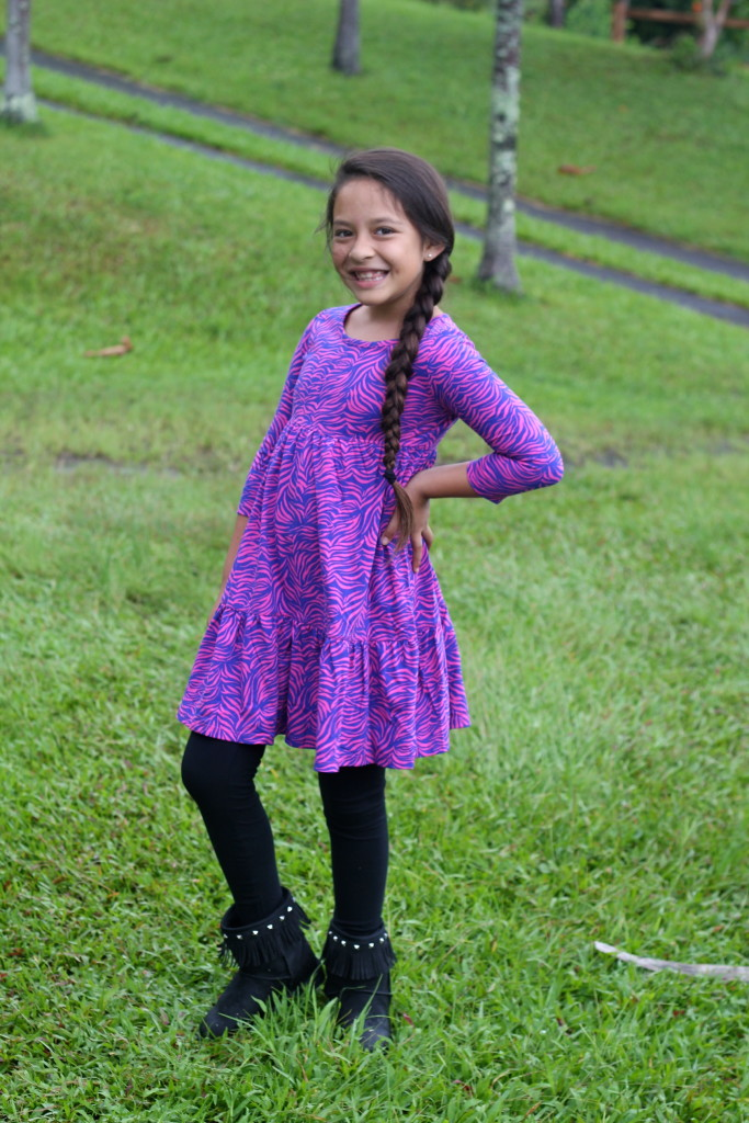 girls pink zebra dress fall boots