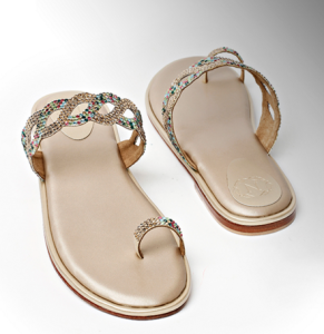 Nicoli MULTI COLORED CRYSTAL TOE SANDAL
