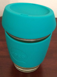 JOCO Glass coffee cup with silicone lid