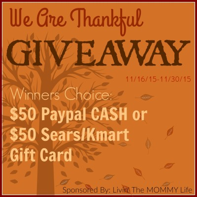 We Are Thankful – $50 Paypal Cash or $50 Sears/Kmart Gift Card Giveaway