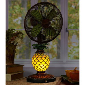 mosaic glass pineapple fan night light