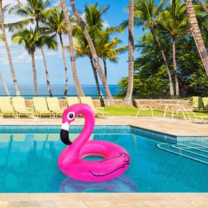 pink flamingo pool float in water