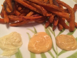 sweet potato fries with Just Mayo Sriracha, Chipotle and Garlic Dips