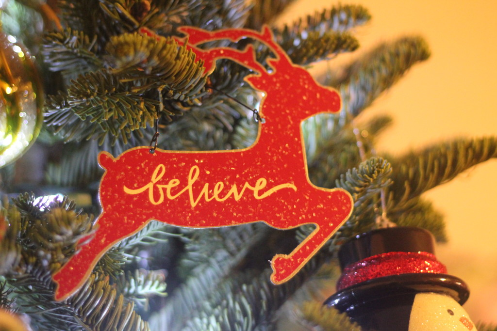 believe reindeer ornament