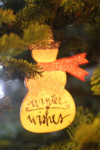 winter wishes snowman ornament