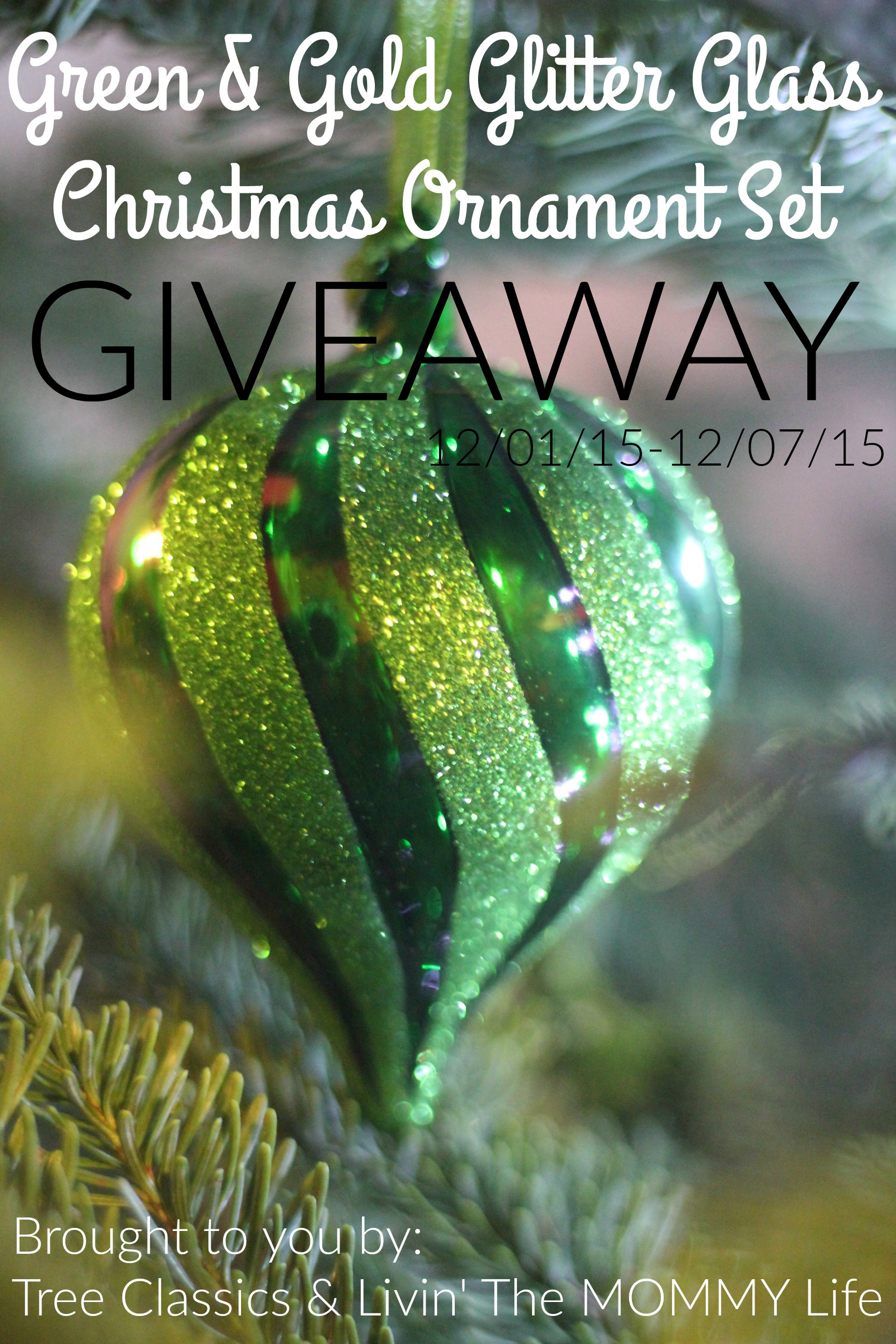 green & gold glitter glass christmas ornament set giveaway