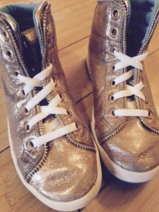Gold skechers shoes with Laceez no tie shoelaces