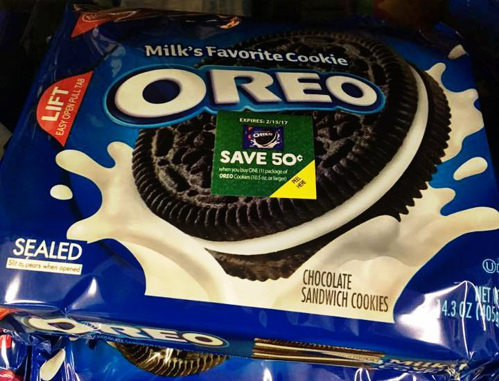 OREO cookies with IRC instant redeemable coupon