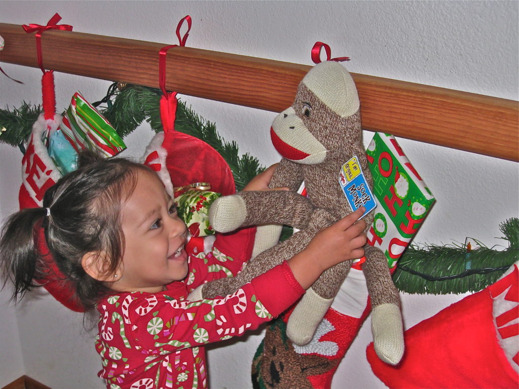 Toddler christmas stocking on christmas morning