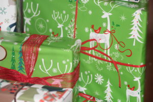 green and red modern reindeer christmas wrapping paper