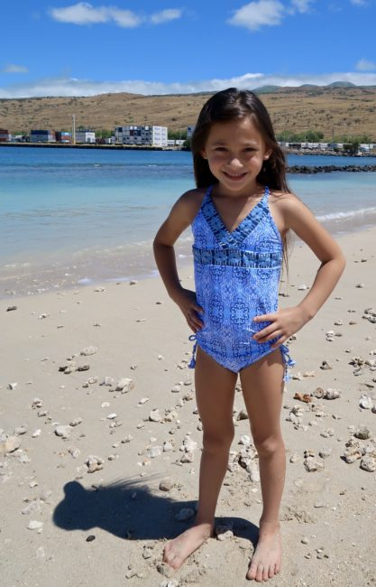 moroccan inspired girls blue swimsuit